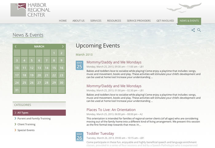 Harbor Regional Center Website
